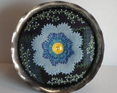 Handmade Felted Wool Blue Flower Crazy Patch Pin Cushion in a Silver Plate Pedestal Dish
