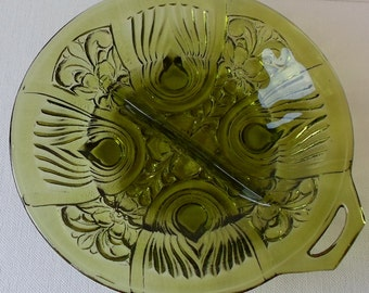 Vintage Indiana Glass Olive Green Divided Relish Dish 1970s