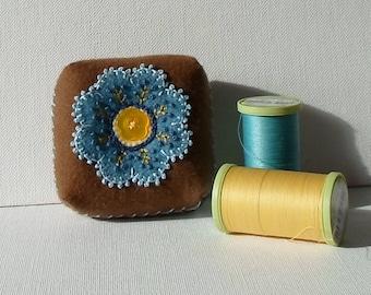 Handmade Pincushion Felted Wool Blue & Brown Floral Mini Cushion