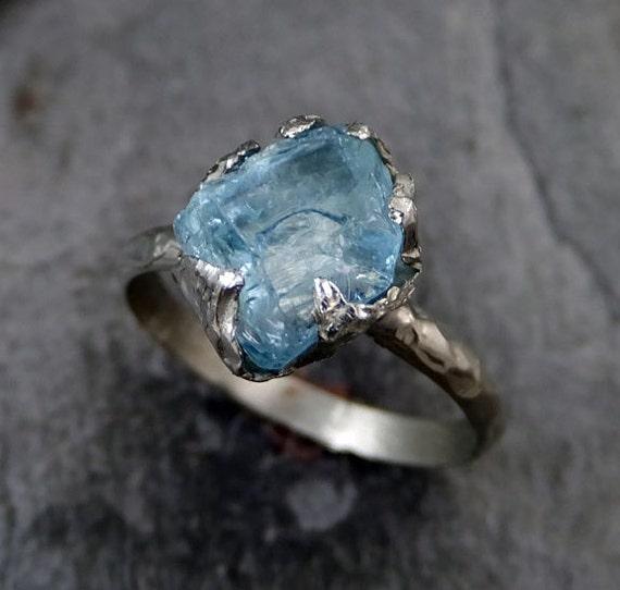 Raw Uncut Aquamarine Ring Solid 14k White Gold Ring Wedding