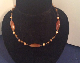 Beaded adjustable necklace  16 in