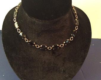 Black onyx adjustable necklace 14-16 in