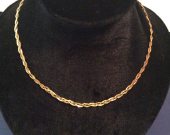 Gold toned braided necklace 17 in