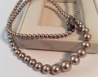Silver pearl beaded necklace 18 in