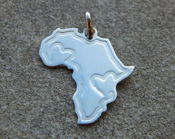Africa silver pendant with hearts
