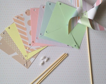 10 paper pinwheels kit SPINNING NO PINS - pastel baby shower wedding