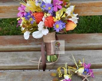 artificial flower wedding bridal bouquet vintage dendrobium daisy lily physalis wheat stalks