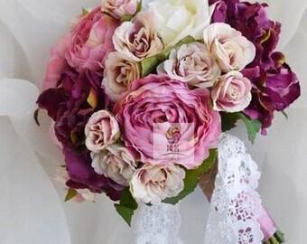 artificial flower bouquet wedding bridal bouquet vintage pink purple