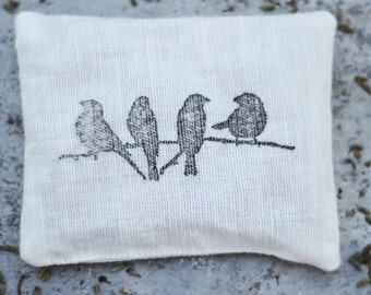 lavender sachet,hand printed sachet,trio of birds stamped, fragrant home decor, lovely gift