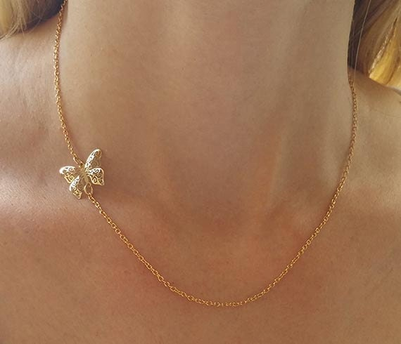 Dainty butterfly necklace Charm necklace Gold pendant