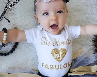 1/2 Half 6 Month Birthday Bodysuit Dress Outfit Sparkly Glitter Heart - SIX MONTHS of FABULOUS Any Color Gold Silver Pink Black