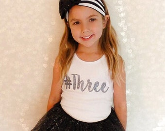 Hashtag Birthday Number Sparkly Glitter Girls Custom Bodysuit, T Shirt or Tank - Choose Color & # One Two Three Four Five Six Seven Eight