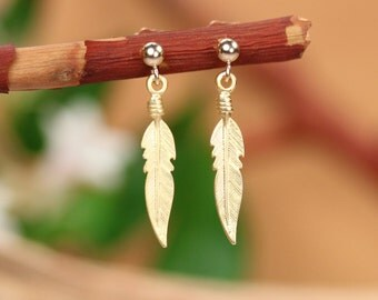 Gold feather earrings - bohemian earrings - feather stud earrings - feather jewelry - hippie earrings - gold stud earrings - gift under 25