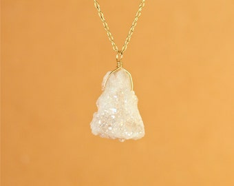 Aura crystal necklace - aura quartz necklace - geode druzy - crystal necklace - a raw aura geode wire wrapped onto a 14k gold vermeil chain