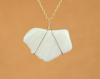 Australian opal necklace - raw opal necklace - freeform opal - fire opal - a wire wrapped genuine opal on a 14k gold filled chain