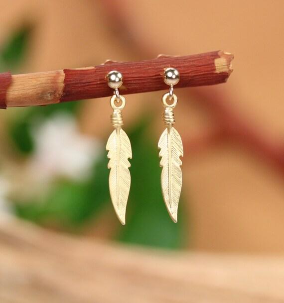 Gold feather earrings - bohemian earrings - feather stud earrings - feather jewelry - hippie earrings - gold stud earrings - gift under 25