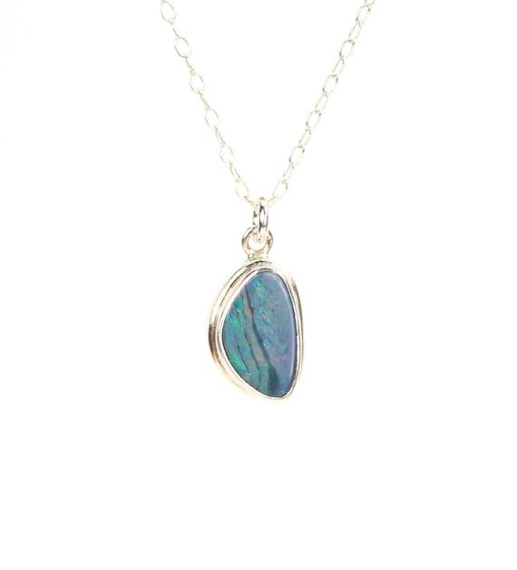 Opal doublet necklace - blue opal necklace - fire opal - opal necklace - a silver bezel set opal on a sterling silver chain