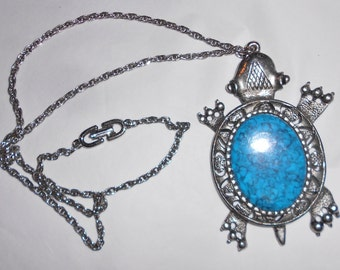 Vintage Sea Turtle necklace pendant Hawaiian turquoise glass Designer Marked F and R 1960s Island Tribal Inspired