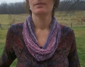 Infinity Scarf, Handknit Scarf, Handknit Cowl, Handspun, Purple Cowl, Women's Cowl, Hand Knit, Silk Scarf - Fading to Twilight
