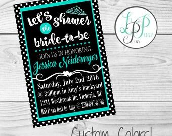 Bridal Shower Invitation, Bride to be Shower Invitation, Teal and Black Invitation, Modern Bridal Shower, Contemporary Bridal Shower Invite