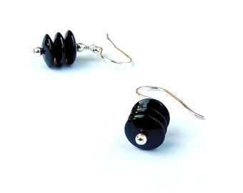 Black Drop Earrings, Black Onyx Earrings, Sterling Silver Earrings, Black Gemstone Dangle Earrings, Contemporary Jewelry