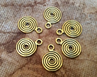 6x Spiral Antique Brass Necklace, Earring Pendants Findings C263