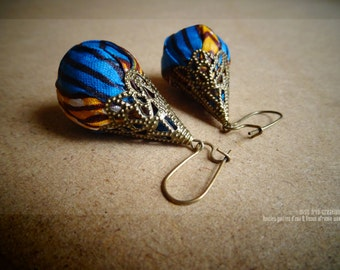 Earrings & Arabesques Water Drops in African fabrics with ethnic pattern