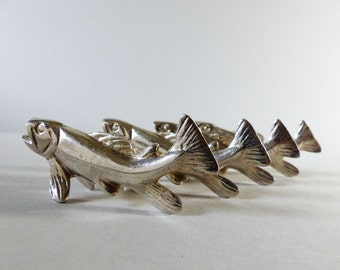 Fish - Set of 4 beautiful silver plated KNIFE RESTS  French Art Deco