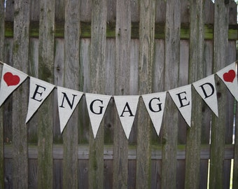 Engaged Burlap   Banner  Bridal Shower Decorations   Banners  Bridal Shower Banners  Bachelorette Party CUSTOMIZE YOUR COLORS