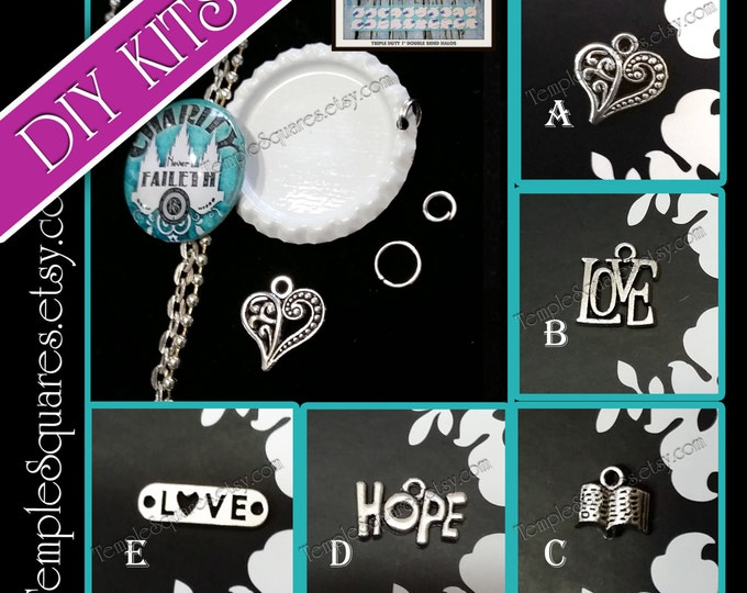 DIY KITS Bottlecap with Charm Relief Society Charity Never Faileth glass cabochon pendant, charm, and chain Super Saturday Make and Take VT