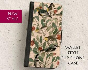 iPhone Case (all models) - Vintage Bird Illustration - Warbler - Wallet flip case -  Samsung Galaxy S4,S5,S6,S7Edge, Note5,S8 & more
