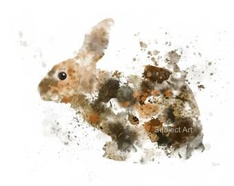 Rabbit Bunny ART PRINT Illustration, Animal, Wildlife, Wall Art, Home Decor