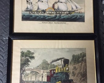 Currier & ives lithograph prints -set of 2 vintage prints