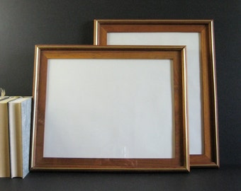 1 Large Teak Frame with Glass - 11 x 14 Photo Frame - Vintage Wood Picture Frame - Empty Frame Table Top Frame Mid Century Modern Home Decor