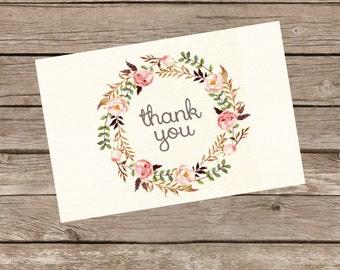 Shabby Chic Wreath Thank You Card