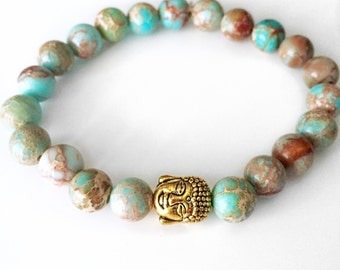 Blue Jasper Buddha Bracelet,Buddha Bracelet,Mala Bracelet,Buddha Bead Bracelet,Wrist Mala,Blue Jasper Bracelet,Yoga Mala,Yoga bracelet,BBJB