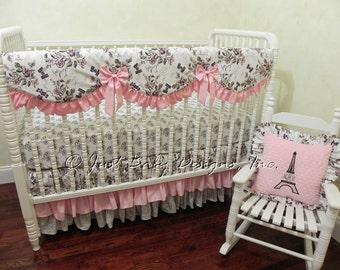 Baby Girl Crib Bedding Set Paris - Paris Crib Bedding, Crib Rail Cover, Ruffle Skirt,  Bumper Free Bedding, Pink Baby Bedding