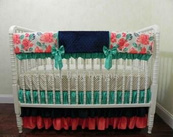 Baby Girl Crib Bedding, Coral and Navy Crib Bedding, Teal Baby Bedding, Bumperfree Crib Bedding, Crib Rail Cover, Girl Baby Bedding