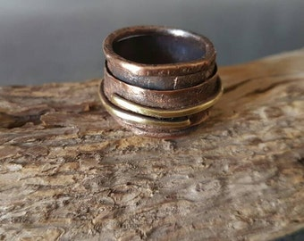 Make an Order please /Copper Band Ring/Copper&Brass Ring/Unique/Metal Smith/Copper Jewelry