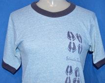 70s Galveston Texas Heathered Blue Rayon Tri Blend Vintage Ringer t-shirt Extra-Small