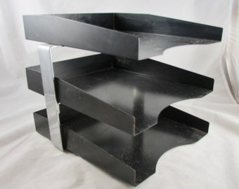 Industrial Metal Desk File Paper Tray In-Out Box Organizer Black Mail Stackable Tiered