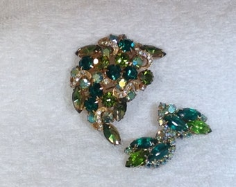 Green Brooch and Earrings