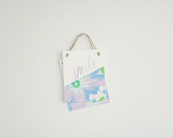Wall Hanging Banners - Vintage Flowers - Smile, Oh Goodie