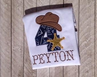 Cowboy Birthday Applique Shirt-western birthday shirt-sherriff birthday shirt-cowboy western birthday shirt-western cowboy bandana birthday