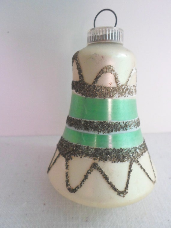 Vintage glass christmas bell ornament west german green and