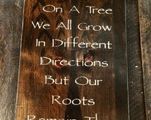 12x20  FAMILY Tree. Solid wood sign, stained with black tree overlay and white wording. Hung with Sawtooth hanger and sealed for durability.