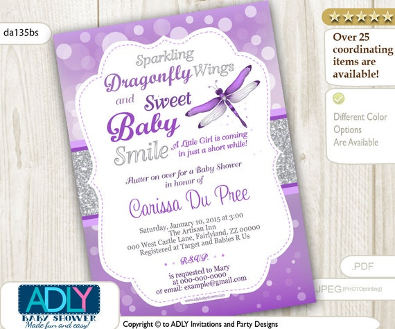 Dragonfly baby shower invitation with bokeh purple silver glitter il570xn filmwisefo