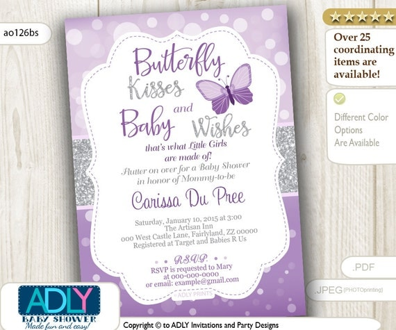 Butterfly Kisses and Baby WIshes Invitation for Baby ...