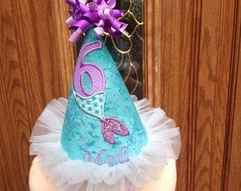 Mermaid Birthday Hat - Mermaid Party Hat- Girls Birthday Hat