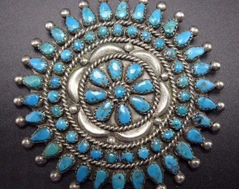 Old Vintage ZUNI Sterling Silver & Turquoise Cluster Petit Point PIN/PENDANT